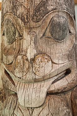 Totem pole at Haida Heritage Centre Museum at Kaay Llnagaay, Haida Gwaii (Queen Charlotte Islands), British Columbia, Canada, North America