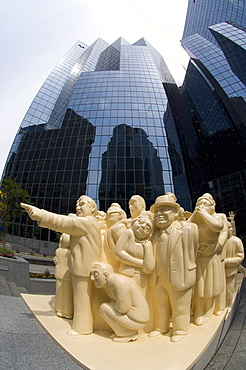 The Illuminated Crowd sculpture in downtown Montreal, Quebec, Canada, North America