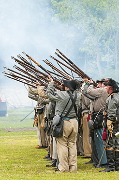 Confederate soldiers at the Thunder on the Roanoke Civil War reenactment in Plymouth, North Carolina, United States of America, North America