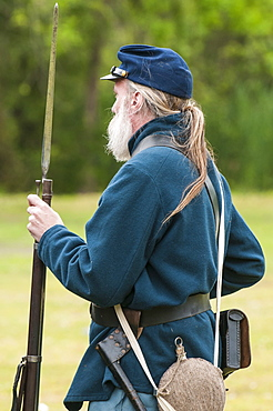 Union soldier at the Thunder on the Roanoke Civil War reenactment in Plymouth, North Carolina, United States of America, North America
