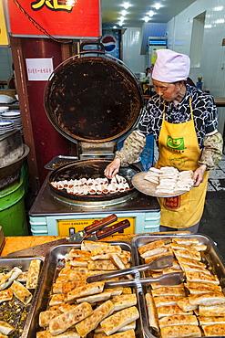 Uyghur food in Muslim Quarter market, Guilin, Guangxi, China, Asia