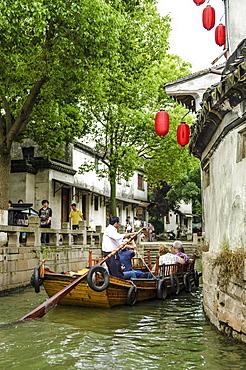Chinese gondola in the water village of Tongli, Jiangsu, China, Asia