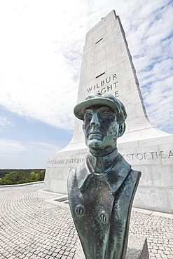 Wilbur Wright statue at Wright Brothers National Memorial, Kill Devil Hills, Kitty Hawk, Outer Banks, North Carolina, United States of America, North America