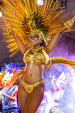 Brazilian samba band in the International Carnival Seychelles, in Victoria, Mahe, Republic of Seychelles, Indian Ocean, Africa