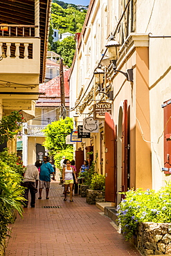 People shopping in downtown Charlotte Amalie, St. Thomas, US Virgin Islands, Caribbean