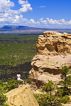 Escarpment and lava beds in El Malpais National Monument, New Mexico, United States of America, North America