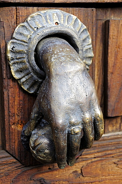 Mexico, Bajio, San Miguel de Allende, Hand of Fatima door knocker.