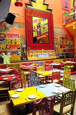 Mexico, Bajio, Queretaro, Colourful restaurant interior.