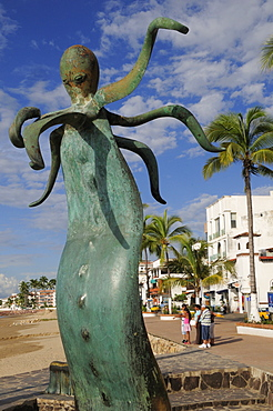 Mexico, Jalisco, Puerto Vallarta, Sculptural piece from La Rotunda del Mar by Alejandro Colunga on the Malecon depicting bronze seat topped by an octopus