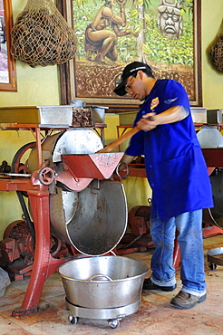 Mexico, Oaxaca, Making chocolate at Mayordomo chocolate shop.