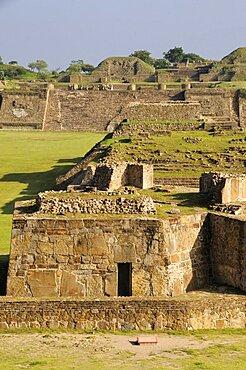 Mexico, Oaxaca, Monte Alban, Edificio buildings G H and I in central plaza.