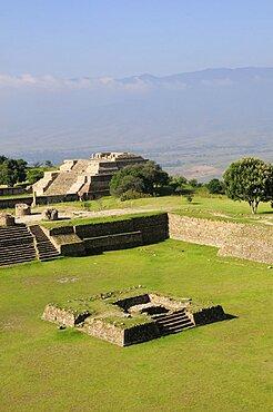 Mexico, Oaxaca, Monte Alban, Site view onto ball court or Juegos de Pelota.