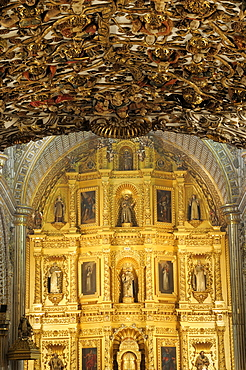 Mexico, Oaxaca, Church of Santo Domingo Ornately decorated interior with carved and gilded altarpiece.