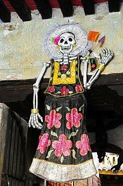 Mexico, Oaxaca, Skeleton decoration for Dia de los Muertos or Day of the Dead festivities.