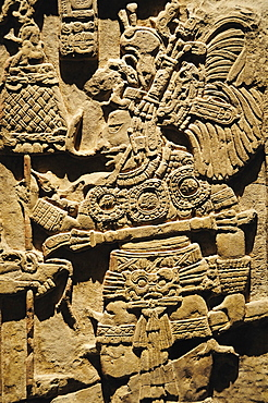 Mexico, Federal District, Mexico City, Museo Nacional de Antropologia Detail of lintel 43 de Yaxchilan relief carving from Chiapas depicting figure carrying ceremonial staff.