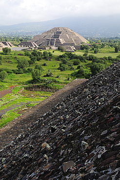 Mexico, Anahuac, Teotihuacan, Pyramid del Sol detail with Pyramid de la Luna beyond.