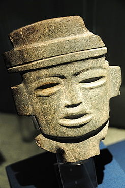 Mexico, Anahuac, Teotihuacan, Anthropomorphic head ceramic representation on display in site museum.