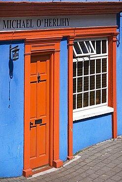 Ireland, County Cork, Kinsale, Colourful terraced house facade .