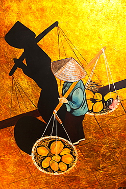 Vietnam, Tourist Goods, Painting of Vietnamese woman carrying goods in baskets on pole across her shoulders.