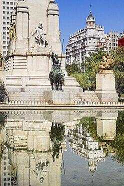 Spain, Madrid, Plaza de Espana statues of Cervantes Don Quixote and Sancho Panza