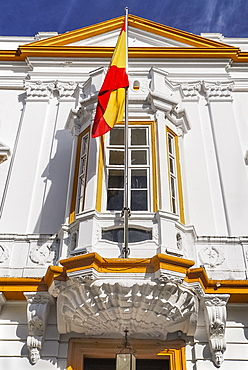 Spain, Extremadura, Badajoz, Detail of regional Government building.