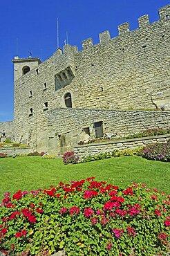 Republic of San Marino, San Marino City, Garden of La Rocca O Guaita or First Tower in Republic.