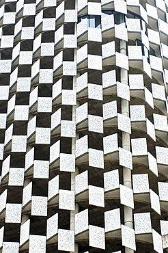 Albania, Tirana, Abstract shot of rectangular facade of Tid tower.