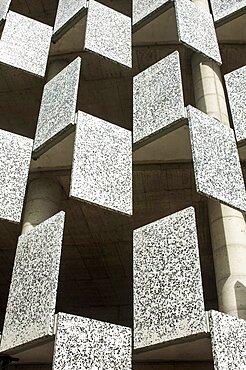 Albania, Tirana, Abstract shot of rectangualr facade of Tid Tower.
