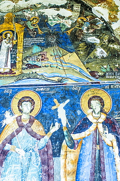 Albania, Korce, Voskopoye, 18th century Fresco on the wall of Church of St Athanasius.