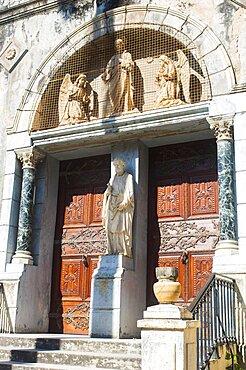 Tanzania, Zanzibar, Stone Town, Facade of the Catholic St Josephs Cathedral.