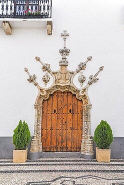 Spain, Extremadura, Olivenza, Ayuntamiento Town Hall doorway detail.