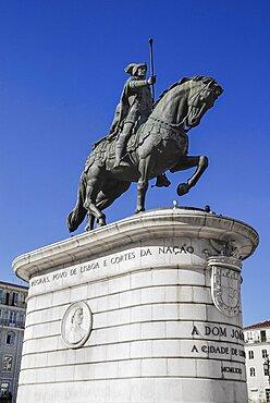 Portugal, Estremadura, Lisbon, Praco do Figueira Statue of Dom Joao 1st.