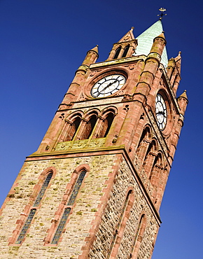 Ireland, North, Derry, The Guild Hall Clock Tower.