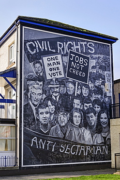 "Ireland, North, Derry, The People's Gallery series of murals in the Bogside, Mural known as ""Civil Rights""."