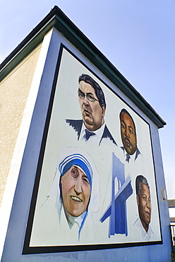 "Ireland, North, Derry, The People's Gallery series of murals in the Bogside, Mural known as ""A Tribute to John Hume""."