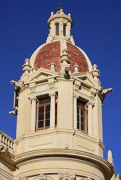 Spain, Valencia Province, Valencia, Spain, Valencia Province, Valencia, Spain, Valencia Province, Valencia, Plaza de Ayuntamiento, Casa Consistorial de Valencia, A tower on Valencia Town Hall.