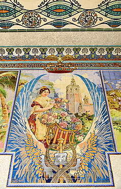 Spain, Valencia Province, Valencia, Estacion del Norte train station, Mosaic tile scene inside the station.