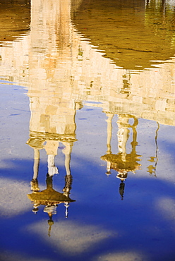 Spain, Valencia Province, Valencia, Spain, Valencia Province, Valencia, Puente del Mar reflected in a pool on the riverbed of the former Rio Turia which is now a park as the river has been diverted due to constant flooding of the city.