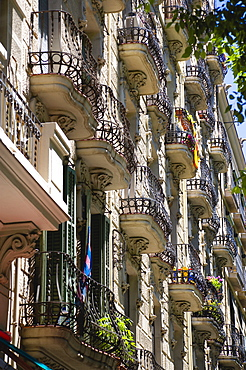 Spain, Catalonia, Barcelona, Apartment balconies in the Eixample district.
