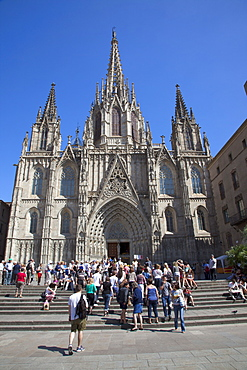 Spain, Catalonia, Barcelona, Tourists outside the Cathedral of the Holy Cross and Saint Eulalia.