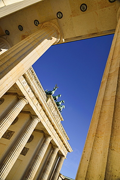 Germany, Berlin, Angular view of the Brandenburg Gate viewed through side columns.