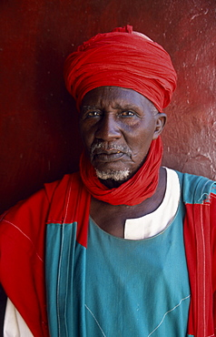 NIGERIA  Kano Emirs palace guard.  Head and shoulders portrait. African Nigerian Western Africa