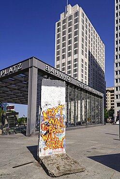 Germany, Berlin, Potzdamer Platz, Preserved Berlin Wall section with political message.