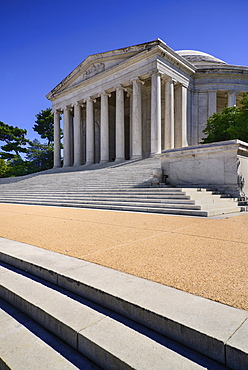 USA, Washington DC, National Mall, Thomas Jefferson Memorial, Angular view from west including steps and facade.
