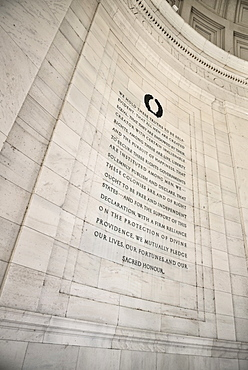 USA, Washington DC, National Mall, Thomas Jefferson Memorial, Excerpt from Jefferson's American Declaration of Independence document on the interior wall.