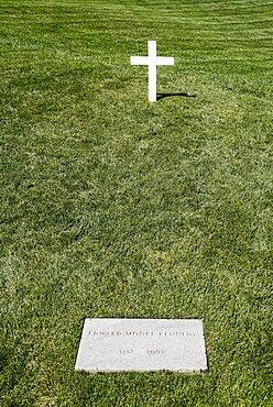 USA, Washington DC, Arlington National Cemetery, Grave of Senator Edward Kennedy.