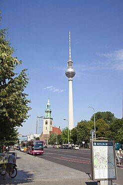 Germany, Berlin, Mitte, Fernsehturm TV Tower seen from Karl-Liebkneckt-Starsse.