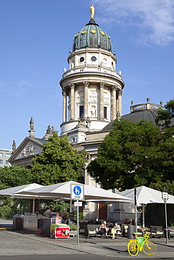 Germany, Berlin, Mitte, Domed tower of the Franzosischer Dom or French Cathedral in Gendarmenmarkt.