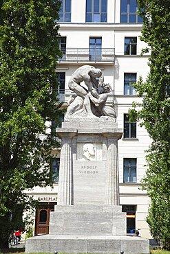Germany, Berlin, Mitte, Statue of Rudolf Virchow in Karlplatz.