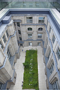 Germany, Berlin, Mitte, Reichstag building internal courtyard seen from roof terrace.